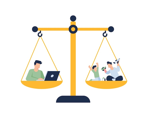 직장과 가족 일러스트 컨셉 사이의 삶의 균형