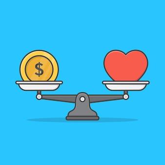 Balance between money and heart