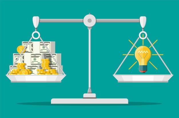 Весы баланса. лампочка. понятие творческой идеи или вдохновения. стеклянная колба со спиралью в плоском стиле. стопки денег и монет. иллюстрация