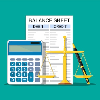 Balance sheet with calculator, scales and pen.