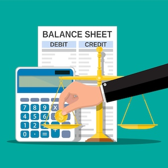 Balance sheet with calculator and scales
