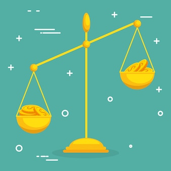 Значок баланса с монетами