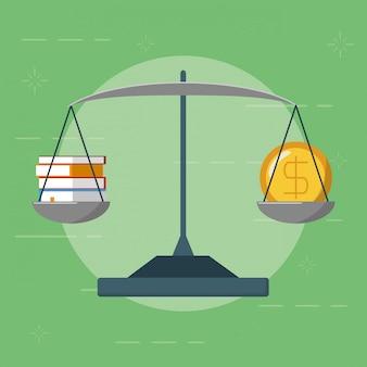 Equilibrio con denaro e libri, stile piatto
