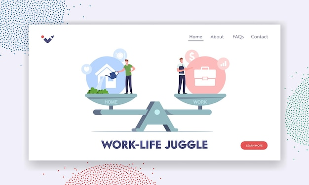 Balance between work and home landing page template. tiny male characters balancing on huge scales with basic values career, and family life. difficult choice. cartoon people vector illustration