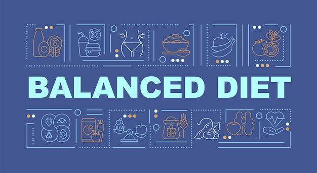 バランスの取れた食事の青い単語の概念のバナー。栄養素が豊富な製品。青い背景に線形アイコンとインフォグラフィック。孤立した創造的なタイポグラフィ。テキストとベクトルアウトラインカラーイラスト