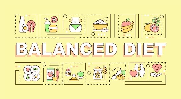 バランスの取れた食事療法の単語の概念のバナー。栄養素が豊富な製品。黄色の背景に線形アイコンとインフォグラフィック。孤立した創造的なタイポグラフィ。テキストとベクトルアウトラインカラーイラスト