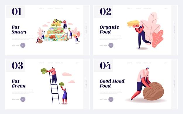 バランスの取れたケトダイエットを食べるウェブサイトのランディングページセット。