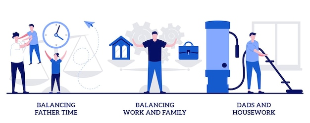 Balancing father time, work and family, dads housework concept with tiny people. father career and family balance vector illustration set. parenting, multitasking, paternity leave metaphor.