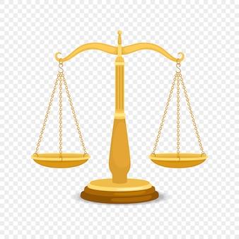 Balancing metal scales. gold business or golden justice retro scales