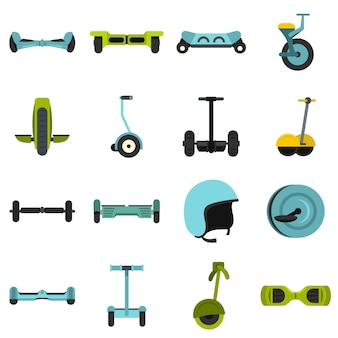 Balancing scooter icons set in flat style