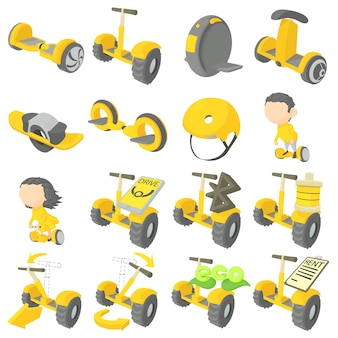 Balancing scooter icons set