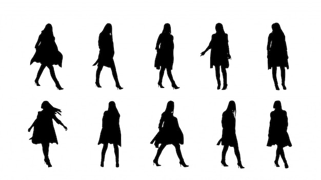 Balck color silhouettes of woman