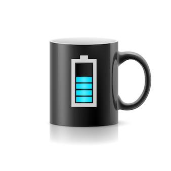 Чашка balck с нарисованным индикатором, оставайтесь на белом фоне