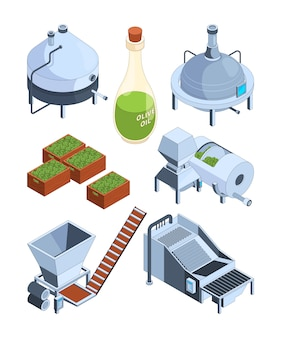 オリーブオイルの抽出、ギリシャbalck、グリーンオリーブオイル生産産業の農場の食品プレス製造等尺性のアイコン