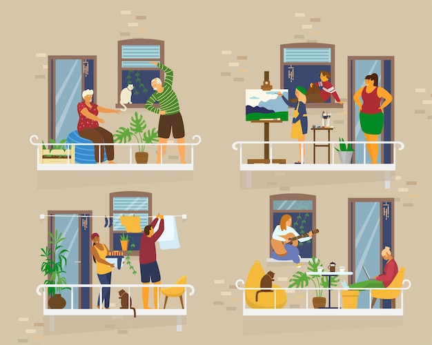 Балконы с людьми во время карантина. соседи по социальной изоляции. старшая пара делает упражнения, девушка рисует, пара стирает, игра на гитаре, работа. плоский