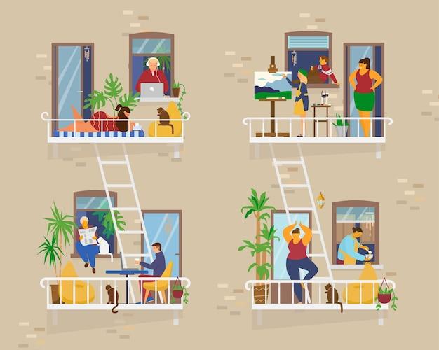 Балконы с людьми во время карантина. соседи по социальной изоляции. работа, загорать, рисовать, готовить, заниматься йогой, чтение. квартира