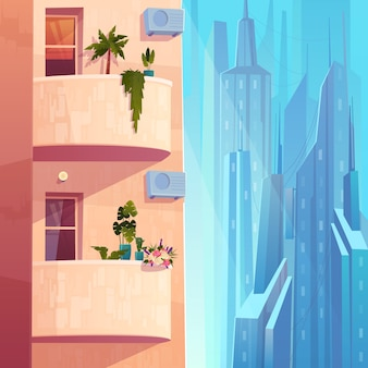 Balconi con piante e fiori, unità di condizionamento d'aria su casa a più piani nel vettore del fumetto metropoli.