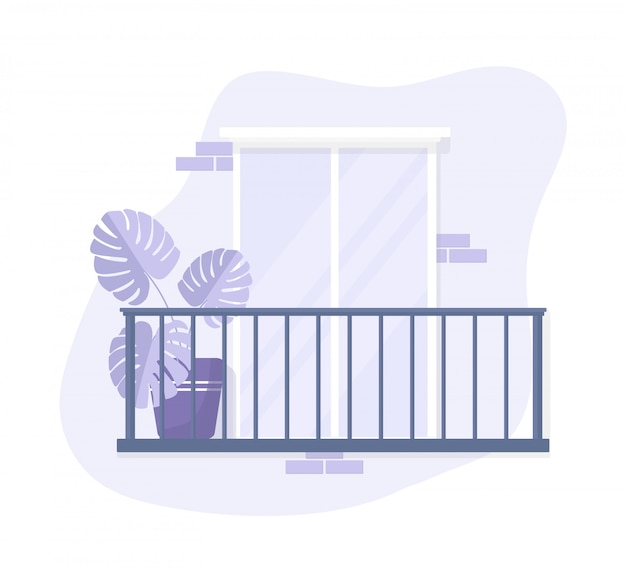 孤立した白い背景の上のバルコニーのデザイン。紫のパステルカラー。花とレンガの白いガラスのドア。フラットスタイルの人々なしのカラーストックイラスト。テラスの正面図