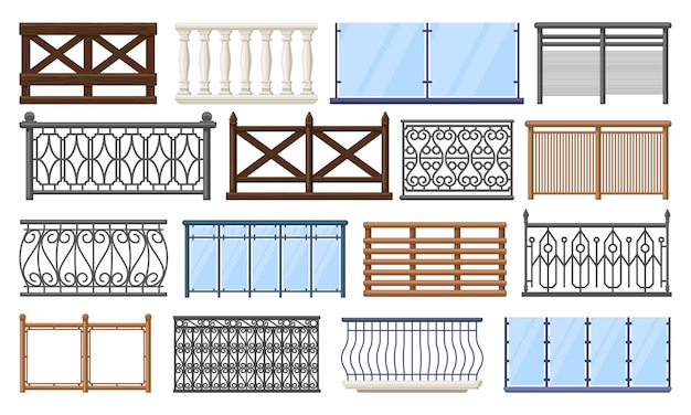 Balcony fence. wooden, stone and stainless steel handrails, home terrace fencing isolated set