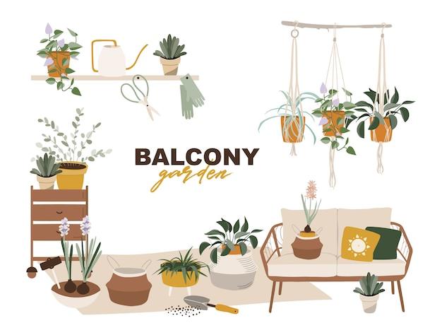 Балкон сад с растениями.