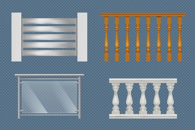 Balcony handrails. building stairway constructions for terrace wooden glass or metal railing vector realistic templates. illustration balcony handrail, railing banister design
