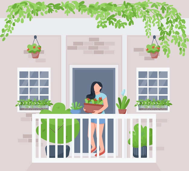 バルコニーホームガーデンフラットカラー。鉢植えの観葉植物を持つ女性。ぶら下がっている緑。植物栽培。背景に外観を持つ女性の庭師2d漫画のキャラクター