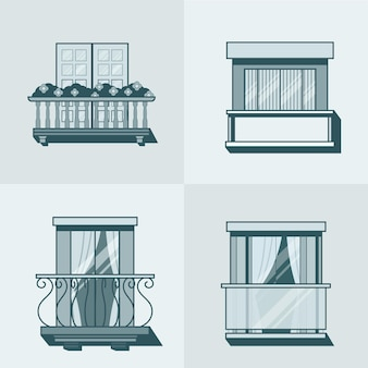 Balcony linear outline architecture building element set. linear stroke outline    icons.