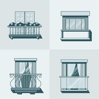 バルコニー線形アウトラインアーキテクチャ建築要素セット。線形ストロークのアウトラインアイコン。