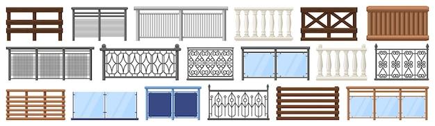 Balcony railing. metal, wooden and stone decorative balcony fences, terrace fencing illustration set