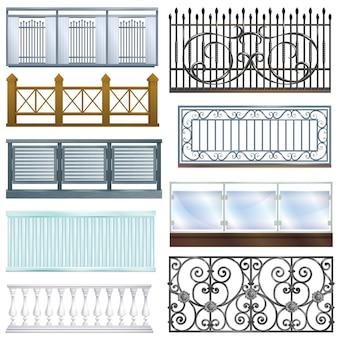 白い背景に分離された古典的な手すり手すり建設のバルコニー手すりヴィンテージ金属鋼フェンスバルコニー装飾建築設計図セット