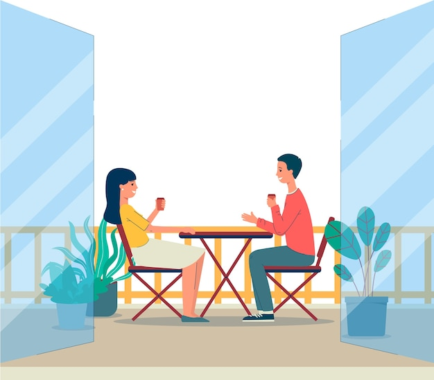 Balcony terrace with couple man and woman cartoon characters sitting at table outdoor premises background of house or apartment building.