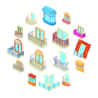 Balcony window forms icons set, isometric style