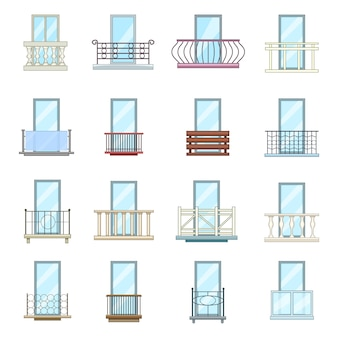 Balcony window forms icons set