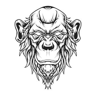 坊主頭のチンパンジーの頭のロゴラインアート