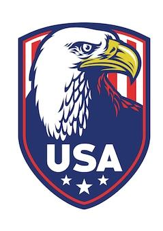 Bald eagle badge of usa flat illustration