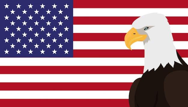 Bald eagle flat design vector illustration