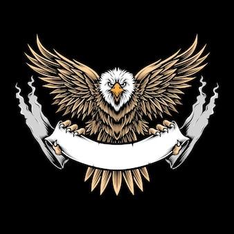 Белоголовый орлан летающий векторный логотип