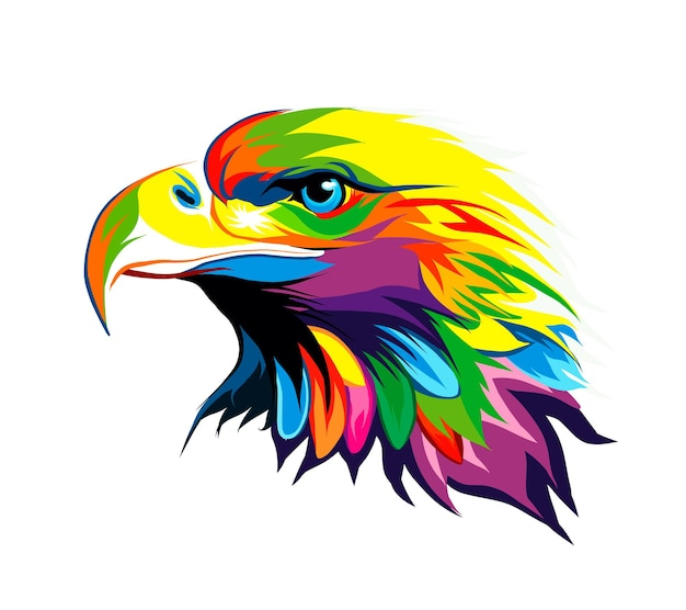 Bald eagle head portrait from multicolored paints splash of watercolor colored drawing realistic