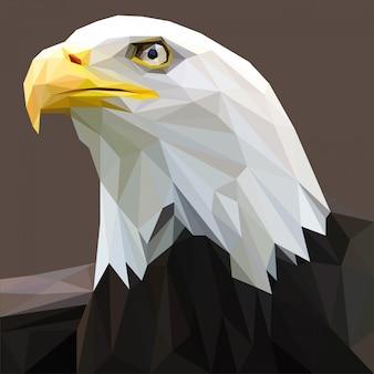 Bald eagle head with polygonal vector