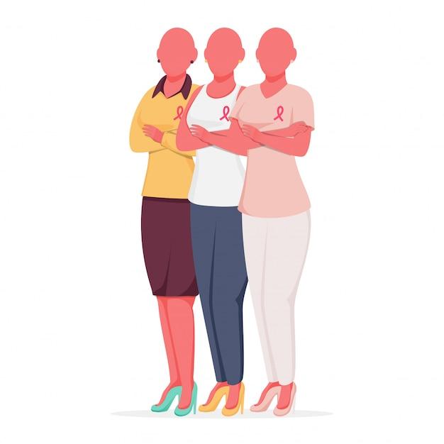 ハゲの女性グループは、白い背景の上の立ちポーズで乳がんリボンを着用します。