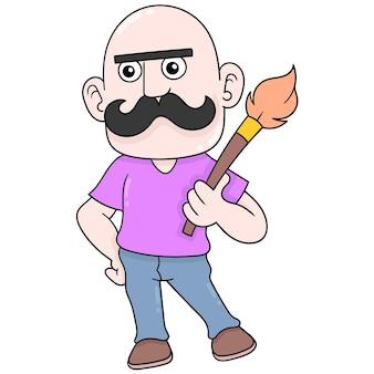 두꺼운 콧수염을 가진 대머리 남성 예술가가 페인트 브러시를 들고 벡터 일러스트레이션 예술을 합니다. 낙서 아이콘 이미지 귀엽다.
