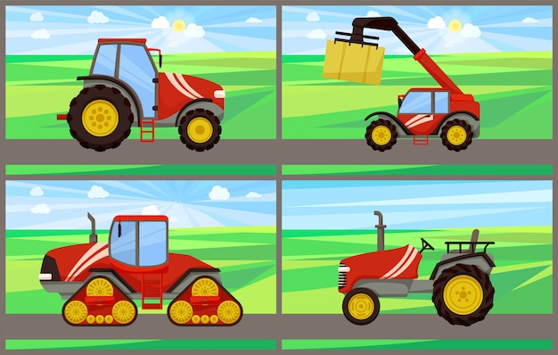 Bale stacker and tractor set vector illustration