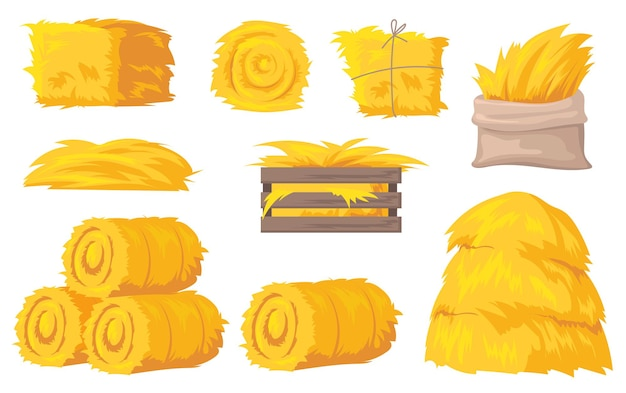Bales and stacks of hay illustration
