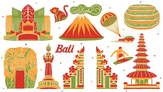 Bali cityscape in flat design style