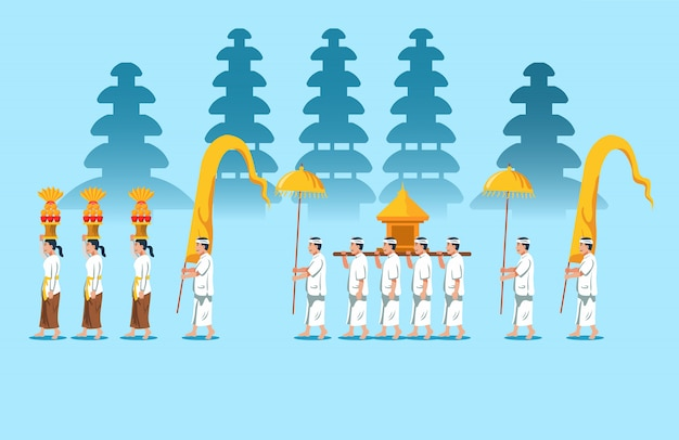 Bali hindu religious rite parade