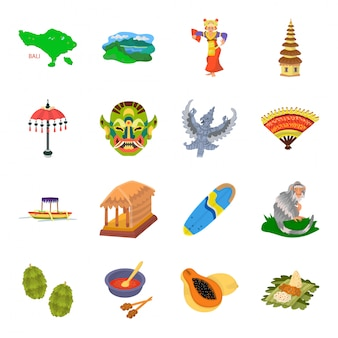 Bali of indonesia  cartoon set icon.  indonesian travel  . isolated cartoon set icon bali of indonesia .