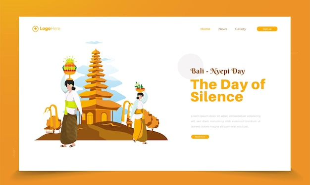 Bali's silence day ceremony illustration greetings on landing page