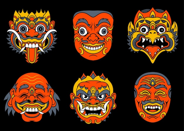 バリ島の伝統的なマスクセットのベクトル図