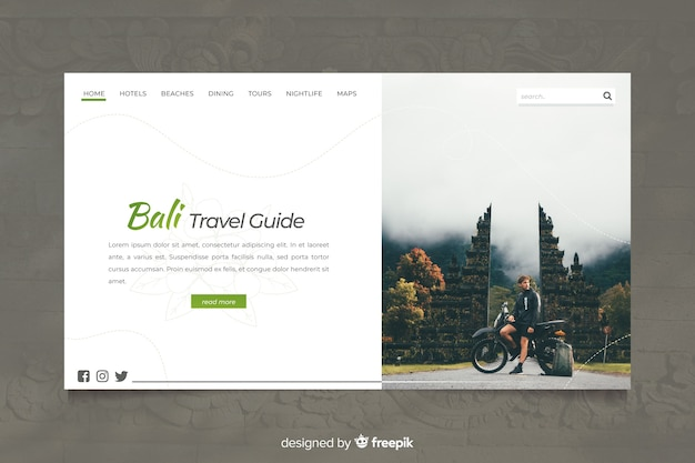 Bali travel guide landing page with photo