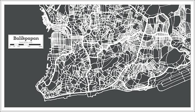 レトロなスタイルのバリクパパンインドネシアの都市地図。白地図。ベクトルイラスト。